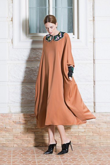 ss-2744 Dai Dress Brown AW17